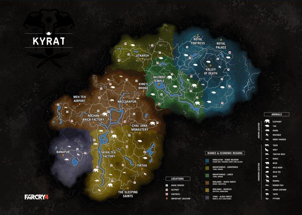 Die Map von Kyrat in Far Cry 4