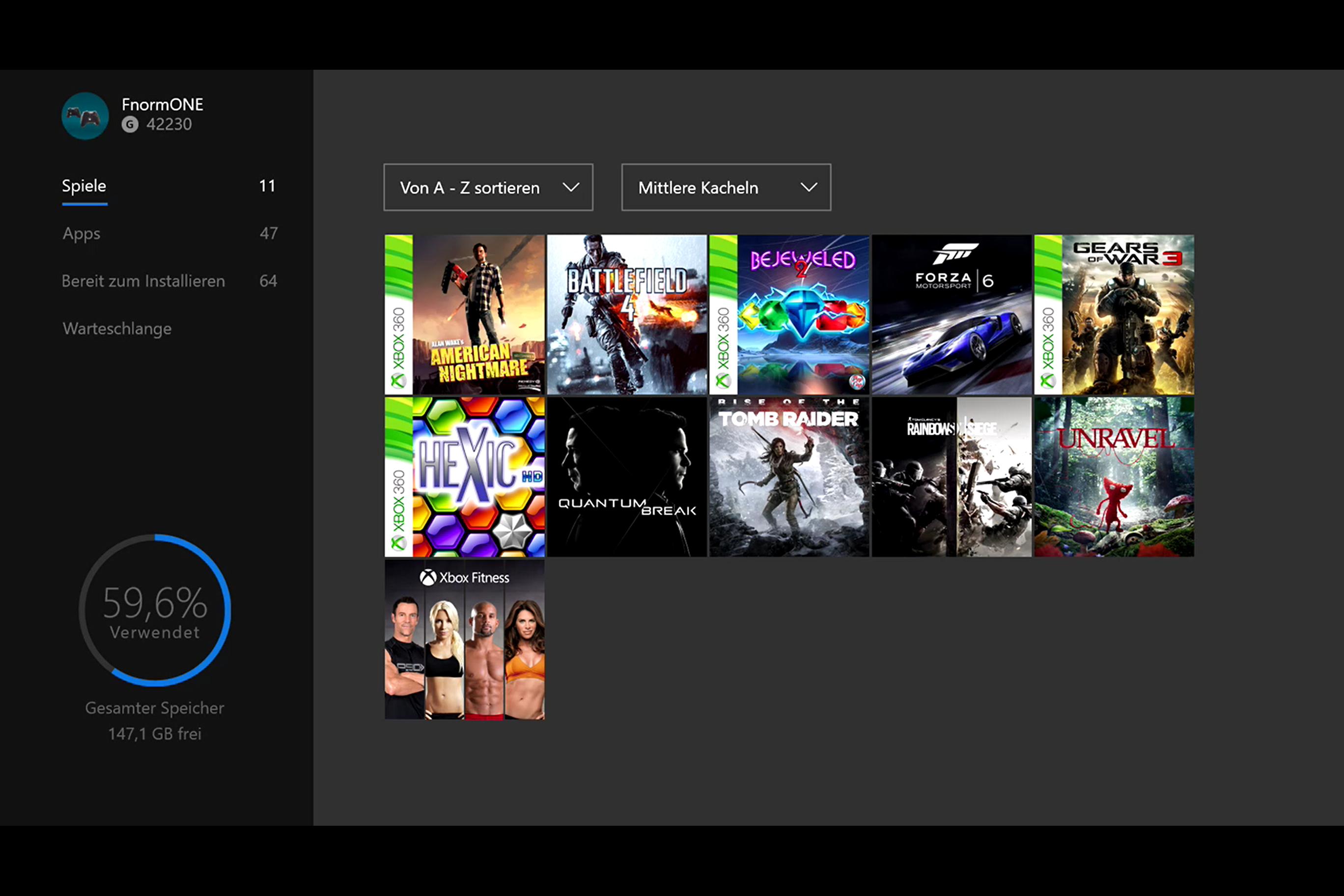 Xbox One Anniversary Update - Meine Spiele & Apps-Bereich