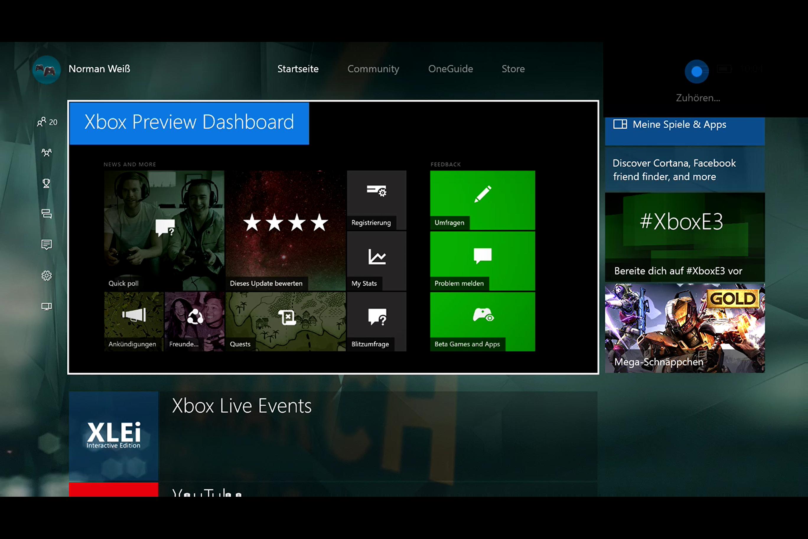 Xbox One Anniversary Update mit Cortana-Anbindung