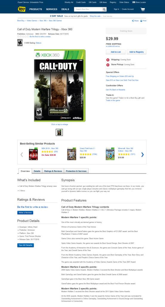 Call of Duty: Modern Warfare Trilogy bei Best Buy