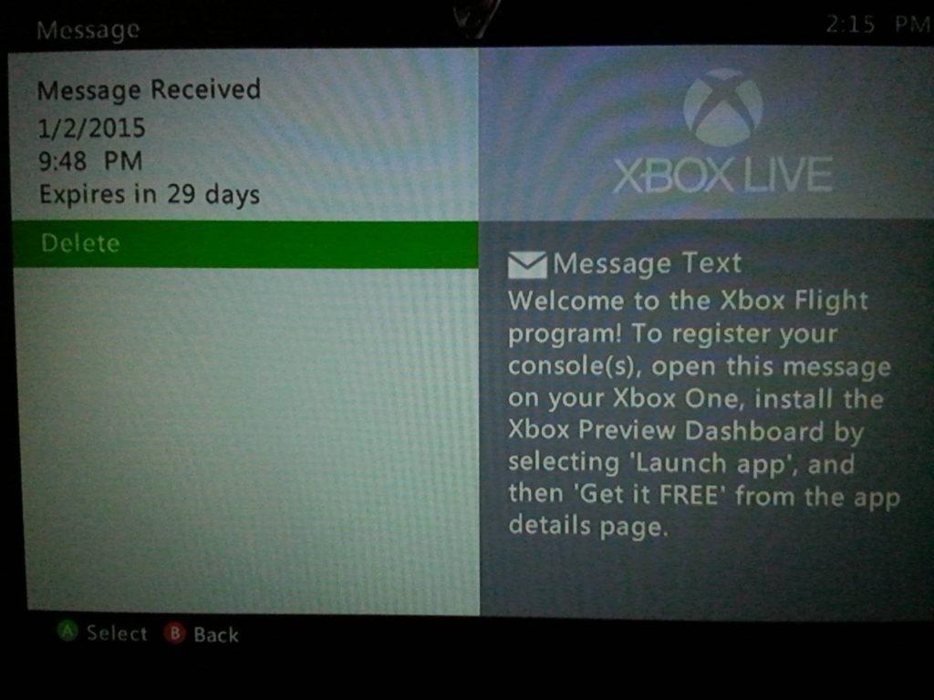 Xbox Live Nachricht