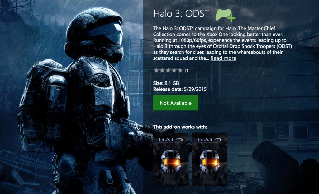 Halo: ODST im Xbox One Store