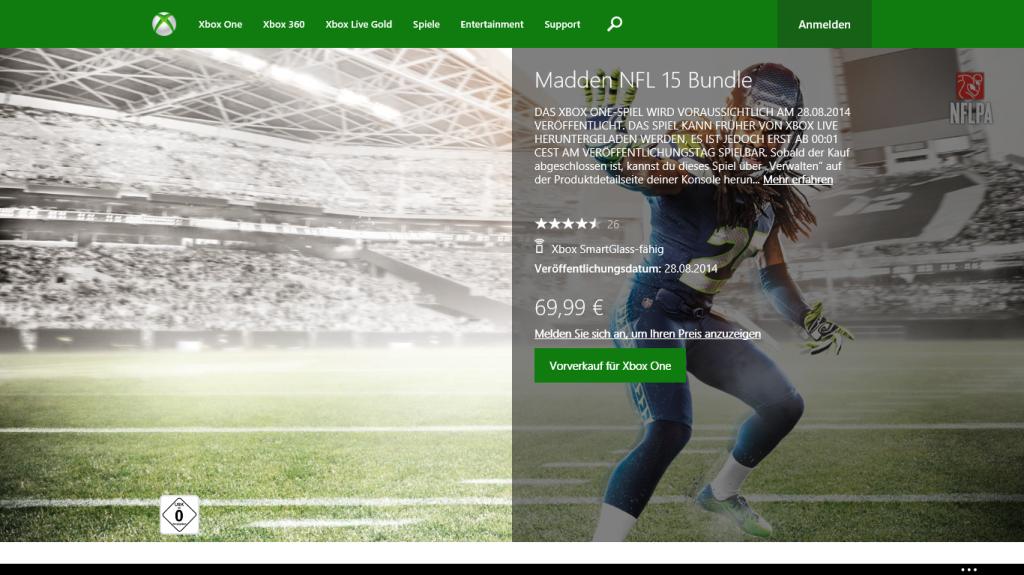 Madden NFL 15 vorbestellbar auf Xbox.com