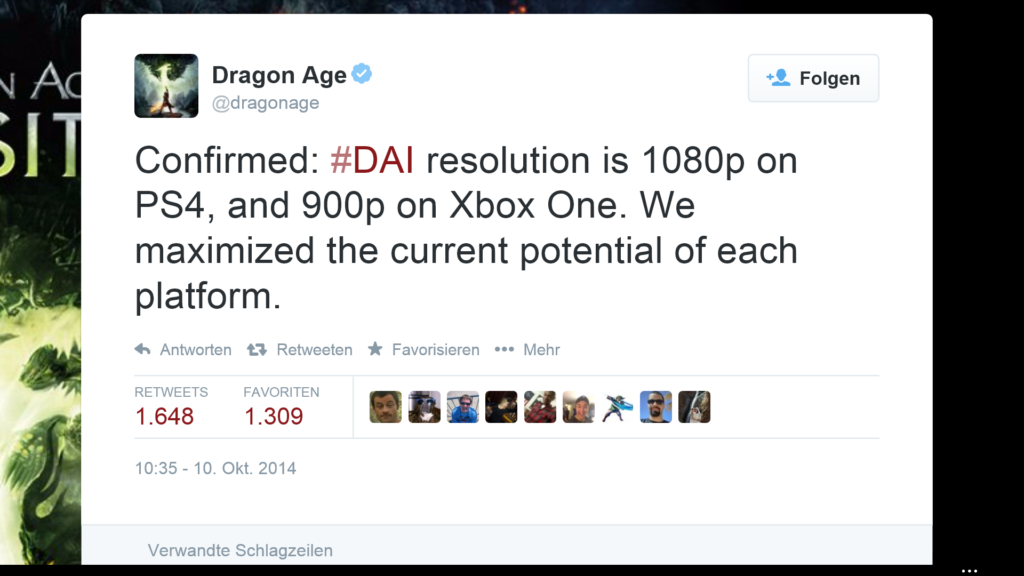 Twitter Account von Dragon Age
