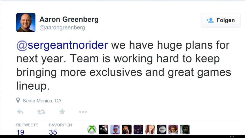Tweet von Aaron Greenberg
