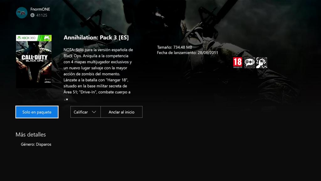 Call of Duty: Black Ops Annihillatio: Pack 3 für Xbox One Abwärtskompatibilität