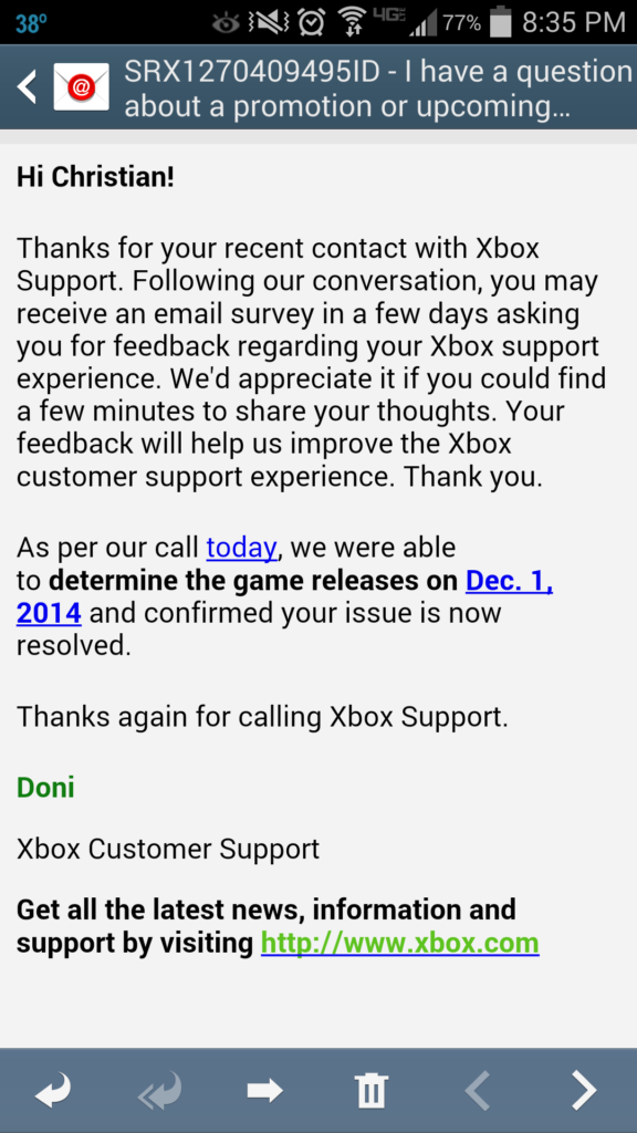 Mail an den Xbox Support
