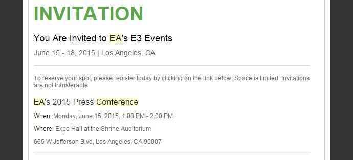 EA E3 2015 Pressekonferenz Einladung