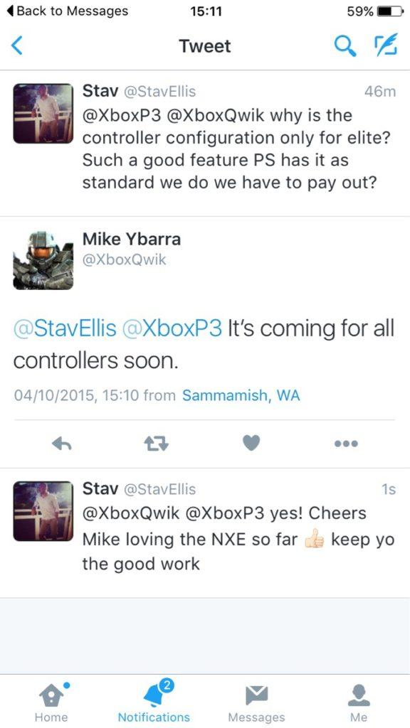 Xbox One - Tweet von Mike Ybarra bezüglich der Konfigurierung des Xbox One Controller